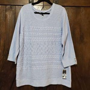 NWOT - Karen Scott Crewneck Sweater Blue XXL